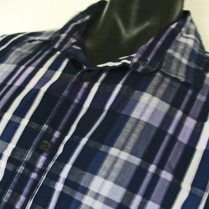 Alfani Shirt Size XL Slim Fit Purple Black Plaid
